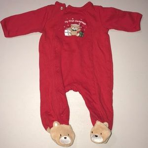 Red 'my first christmas' baby footie onesie
